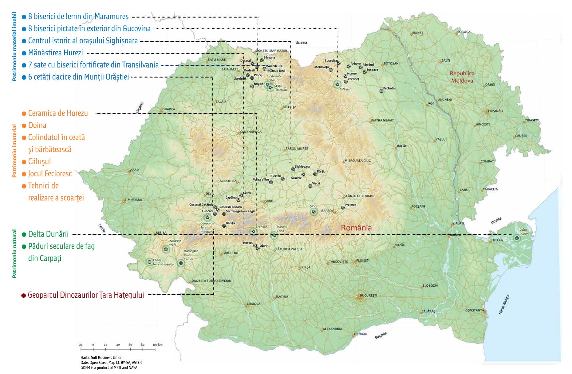 harta patrimoniului Unesco romania